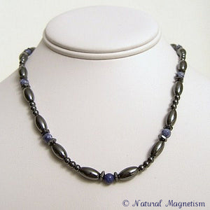 Sodalite Hex And Rice Magnetite Magnetic Necklace