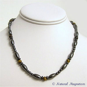 Tiger Eye Hex And Rice Magnetite Magnetic Necklace