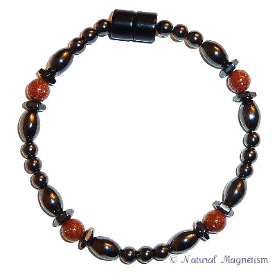 Goldstone Hex And Rice Magnetite Magnetic Bracelet