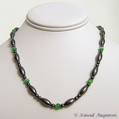 Green Cat Eye And Rice Magnetite Magnetic Necklace
