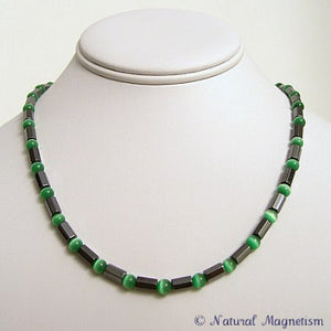Green Cat Eye Faceted Magnetite Magnetic Necklace