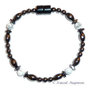 Howlite Hex And Rice Magnetite Magnetic Bracelet