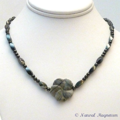 Jasper Gemstone Flower Magnetite Magnetic Necklace