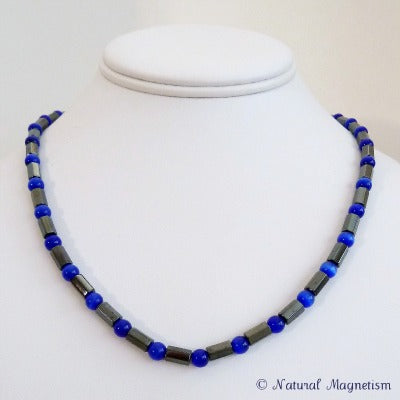 Indigo Cat Eye Faceted Magnetite Magnetic Necklace