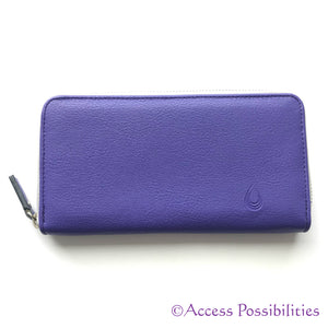 Ladies Purple Essential Oil Zip Around Leather Wallet Exterior