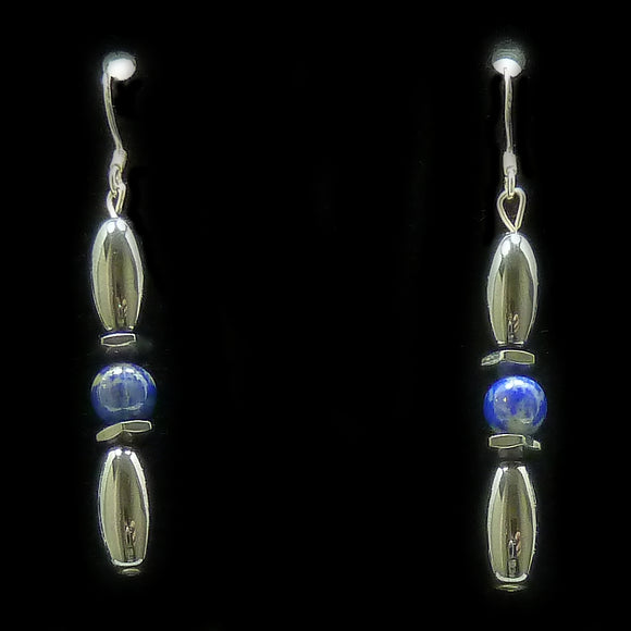Lapis Lazuli Hex And Rice Magnetite Magnetic Earrings | Access Possibilities
