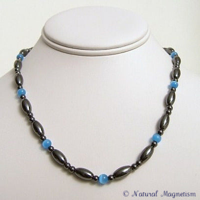 Light Blue Cat Eye And Rice Magnetite Magnetic Necklace