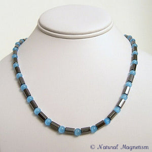 Light Blue Cat Eye Faceted Magnetite Magnetic Necklace
