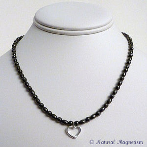 Sterling Silver Lariat Loop Heart Magnetite Necklace | Magnetic Jewelry