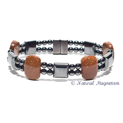 Goldstone Double Magnetite Magnetic Anklet