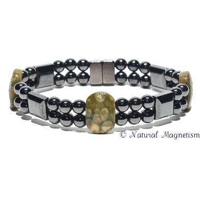 Rainforest Jasper Double Magnetite Magnetic Bracelet