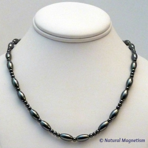 Large Rice And Round Magnetite Magnetic Necklace | Magnetic Jewelry