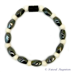 Large Twist And Bone Magnetite Magnetic Anklet