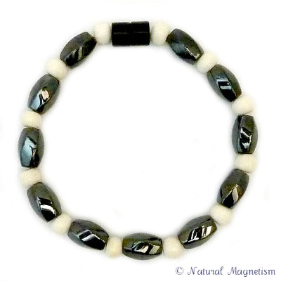Large Twist And Bone Magnetite Magnetic Bracelet
