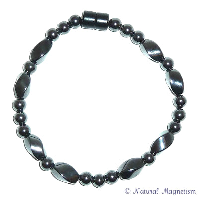 Large Twist And Round Magnetite Magnetic Bracelet