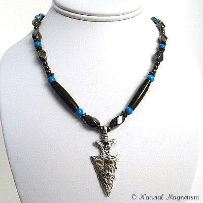 Metal Arrowhead Howlite And Bone Magnetite Magnetic Necklace