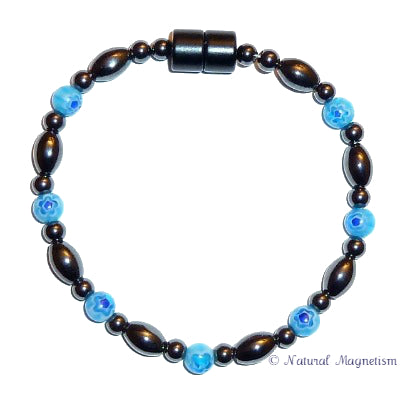 Light Blue Millefiori Bead Magnetite Magnetic Bracelet