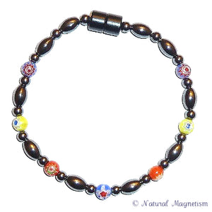 Multi-Color Millefiori Magnetite Magnetic Anklet