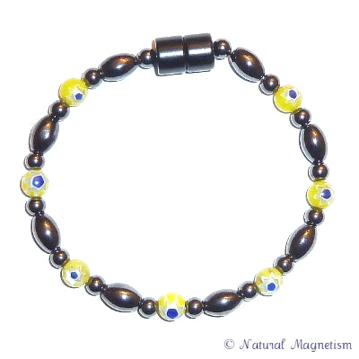 Yellow Millefiori Magnetite Magnetic Anklet