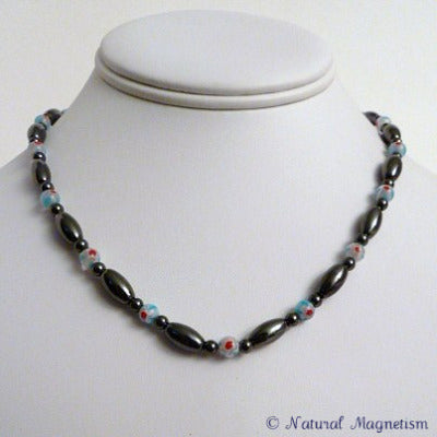 Light Blue Millefiori Magnetite Magnetic Necklace | Magnetic Jewelry