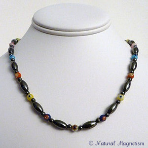 Multi-Color Millefiori Magnetite Magnetic Necklace | Magnetic Jewelry