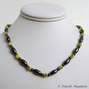 Yellow Millefiori Magnetite Magnetic Necklace | Magnetic Jewelry