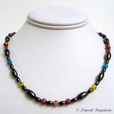 Multi-Color Millefiori Rice Magnetite Magnetic Necklace | Magnetic Jewelry