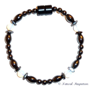 Moonstone Hex And Rice Magnetite Magnetic Bracelet