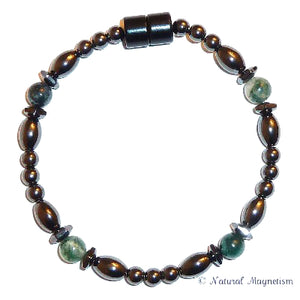 Moss Agate Hex And Rice Magnetite Magnetic Bracelet