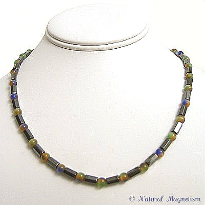 Multi-Color Cat Eye Faceted Magnetite Magnetic Necklace