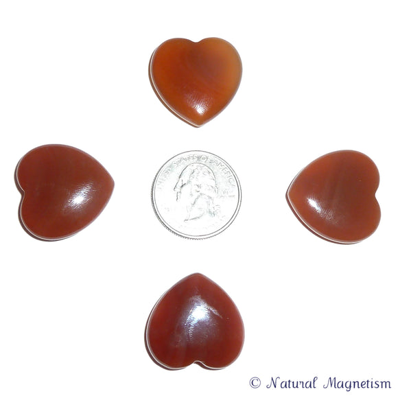 Small Polished Carnelian Gemstone Hearts