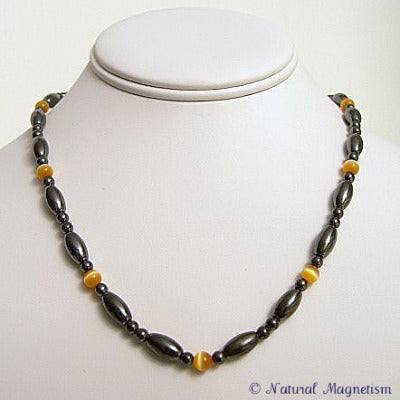 Orange Cat Eye And Rice Magnetite Magnetic Necklace