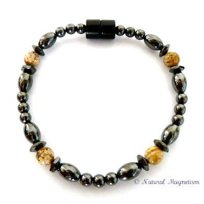 Picture Jasper Hex And Rice Magnetite Magnetic Bracelet