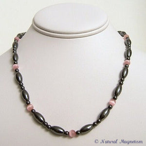 Pink Cat Eye And Rice Magnetite Magnetic Necklace