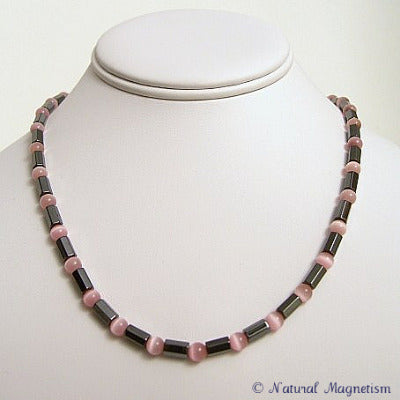 Pink Cat Eye Faceted Magnetite Magnetic Necklace