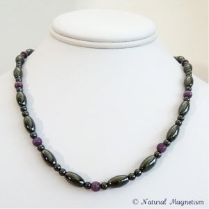 Purple Cat Eye And Rice Magnetite Magnetic Necklace