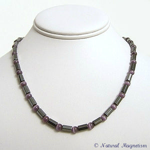 Purple Cat Eye Faceted Magnetite Magnetic Necklace