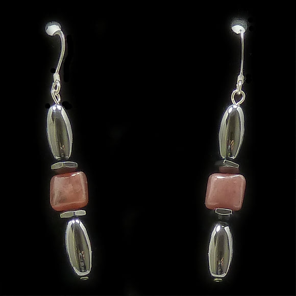 Rhodochrosite Hex And Rice Magnetite Magnetic Earrings | Access Possibilities