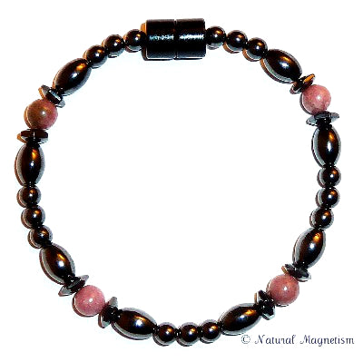 Rhodonite Hex And Rice Magnetite Magnetic Bracelet