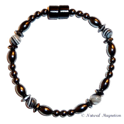 Sardonyx Hex And Rice Magnetite Magnetic Bracelet