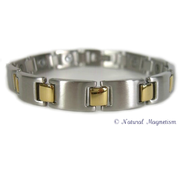 Tennis Two-Tone Stainless Steel Magnetic Bracelet