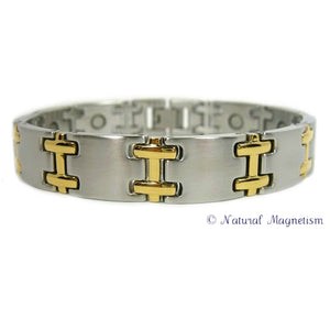 Two-Tone H Stainless Steel Magnetic Bracelet