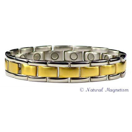 Ingot Wide Two-Tone Stainless Steel Magnetic Bracelet