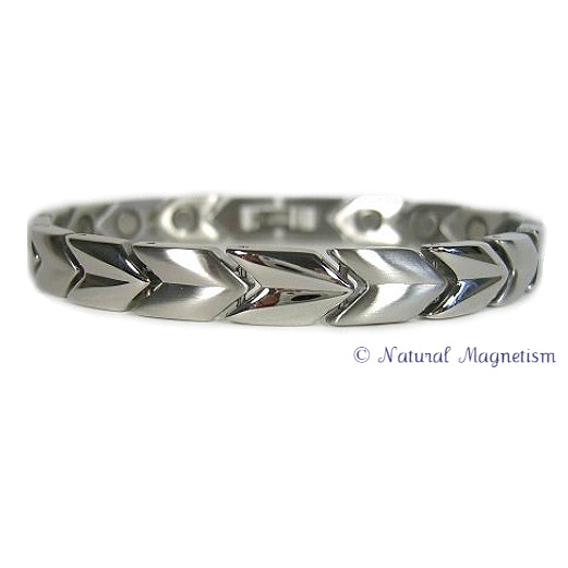 Silver Arrow Stainless Steel Magnetic Bracelet