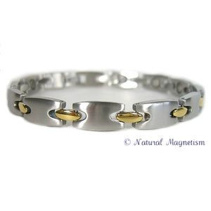 Golfer Two-Tone Stainless Steel Magnetic Bracelet