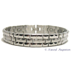 Diamond Cut Silver Stainless Steel Magnetic Bracelet