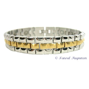 Diamond Cut Two-Tone Stainless Steel Magnetic Bracelet