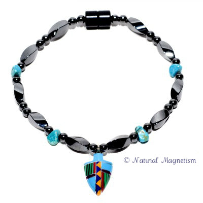 Small Arrowhead Turquoise Magnetite Magnetic Anklet