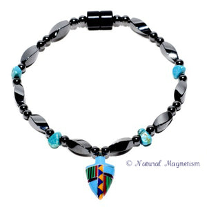 Small Arrowhead Turquoise Magnetite Magnetic Bracelet