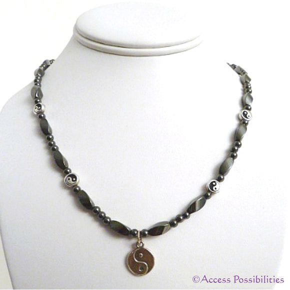 Sterling Silver Yin Yang Magnetite Magnetic Necklace